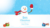Happy snowman behind the Merry Christmas wishes with gifts and snow