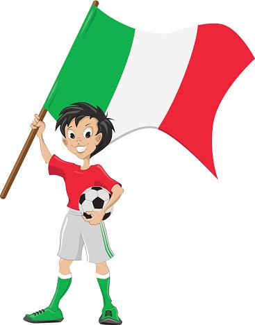 Happy soccer fan holds Italia flag