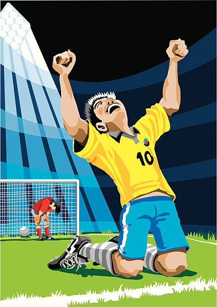 """Happy Soccer Player After Scoring Goal """"Vector Illustration of a cheering scorer, in the background is the defeated goalkeeper. The colors in the .eps and .ai-files are ready for print (CMYK). Included files: EPS (v8), AI (CS2) and Hi-Res JPG."""" soccer stock illustrations"""