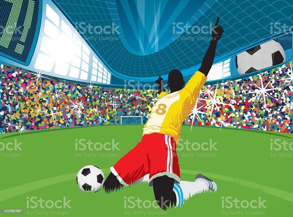 Happy Soccer Player vector art illustration