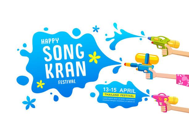 happy songkran festival thailand gun water in hands collections vector design - songkran festival stock illustrations, clip art, cartoons, & icons