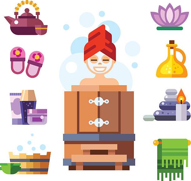 stockillustraties, clipart, cartoons en iconen met happy spa girl in sauna. - sauna