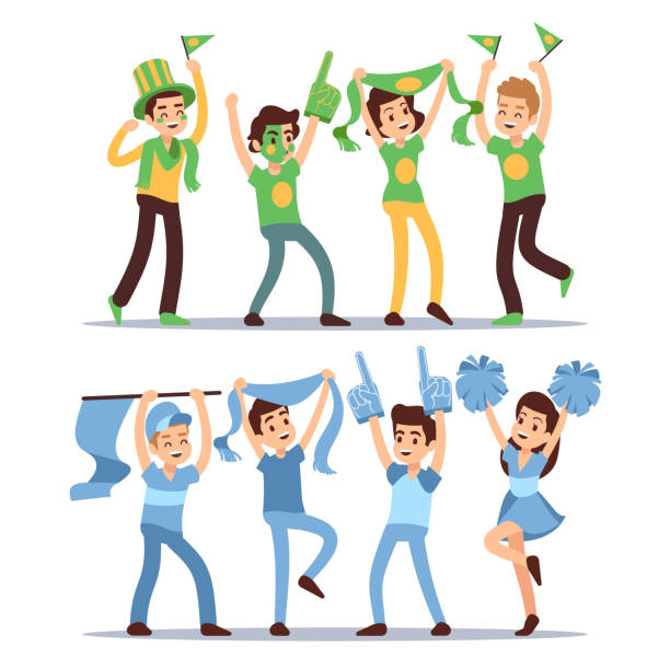 ilustrações de stock, clip art, desenhos animados e ícones de happy sports fun teams. group shouting supporting people vector set - adeptos
