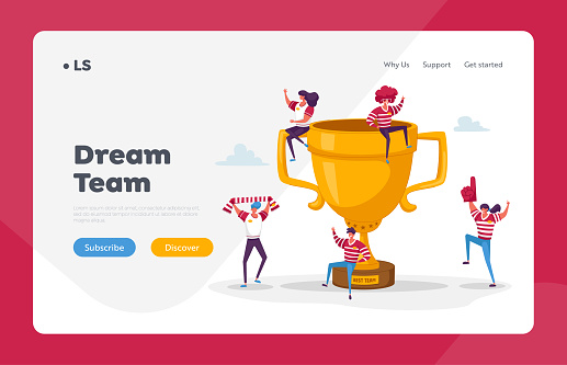 Happy Sports Team Celebrate Victory and Success Landing Page Template. Tiny Characters with Funny Attribution and Sport Uniform Jumping around of Huge Golden Cup. Cartoon People Vector Illustration