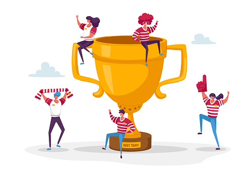 Happy Sports Team Celebrate Victory and Success. Tiny Male Female Characters with Funny Attribution and Sport Uniform Sitting and Jumping around of Huge Golden Cup. Cartoon People Vector Illustration