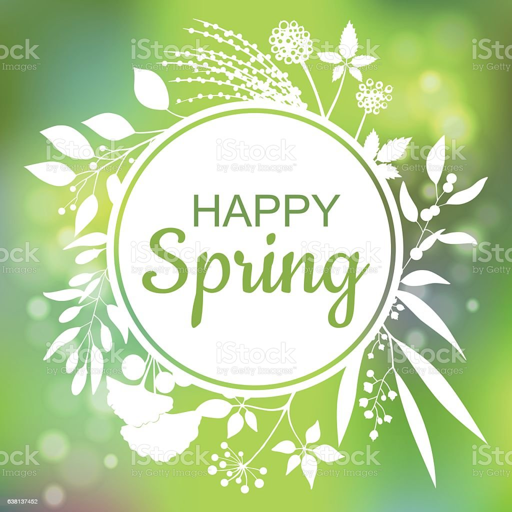 Happy Spring green card design with a textured abstract background vector art illustration
