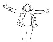 Illustration of a happy woman with open arms. Anonymous