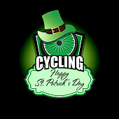Happy St. Patricks day. Cycling logo template design. Bicycle wheel with St. Patrick hat. Pattern for banner, poster, greeting card, party invitation. Vector illustration