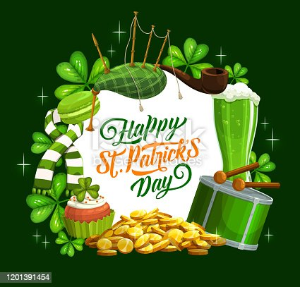 istock Happy St Patrick day banner, Irish bagpipes 1201391454