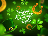 Happy St. Patrick Day greeting card, cartoon vector poster with lettering, shamrocks, green leprechaun hat and gold horseshoes on blurred background. Saint Patricks traditional festival, celtic party