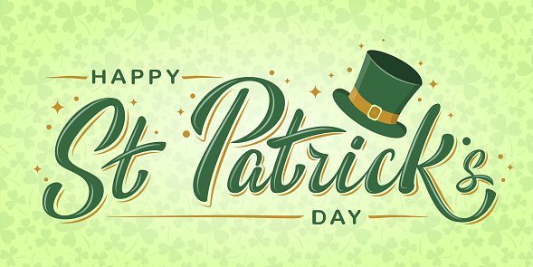 Happy St. Patrick Day lettering text with Leprechaun`s green hat