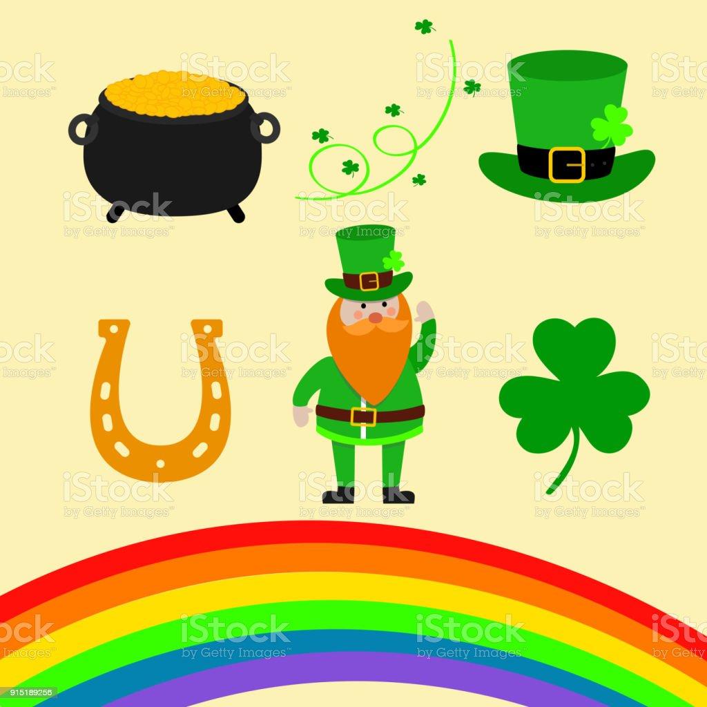 Happy St. Patrick Day scene creator set vector illustration. Leprechaun, clover shamrock leaf, the hat, pot of gold, rainbow, magic wind.