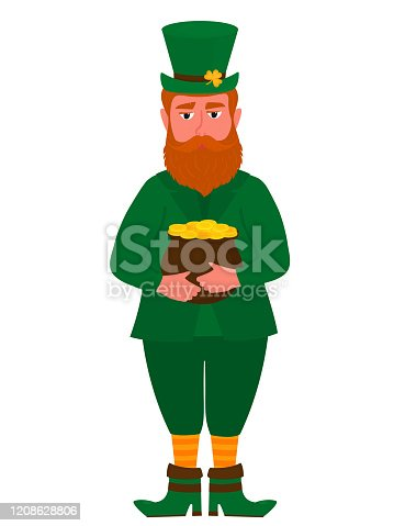 Happy St. Patrick 's Day banner. Funny red leprechaun in a hat with a shamrock holds a pot of gold coins.