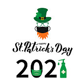 Happy St. Patrick's Day 2021 lettering and cartoon icon of Leprechaun  with face mask green hat shamrock. Pandemic Covid Saint Patricks day. Vector template for greeting card, banner, poster.