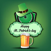 Happy St. Patricks day. Cycling logo template design. Bicycle wheel with St. Patrick hat and mug of beer. Pattern for banner, poster, greeting card, party invitation. Vector illustration