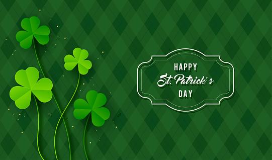 Happy St. Patrick's Day Background vector illustration. Shamrock leaves on green argyle pattern background
