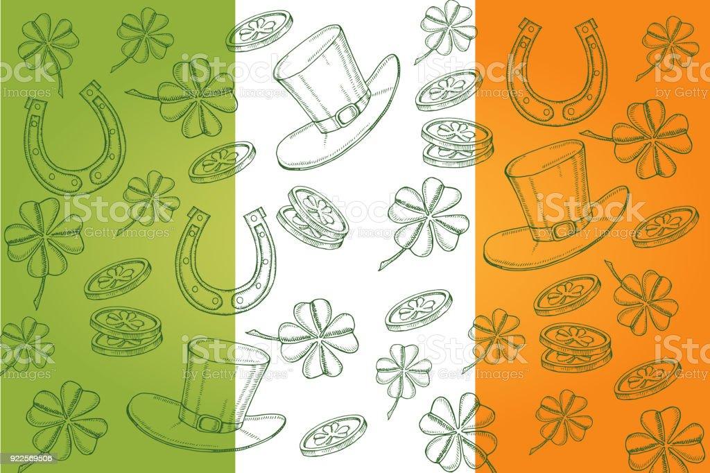 Ilustración de Día Feliz St Patrick Fondo Con Símbolos Dibujados A ...