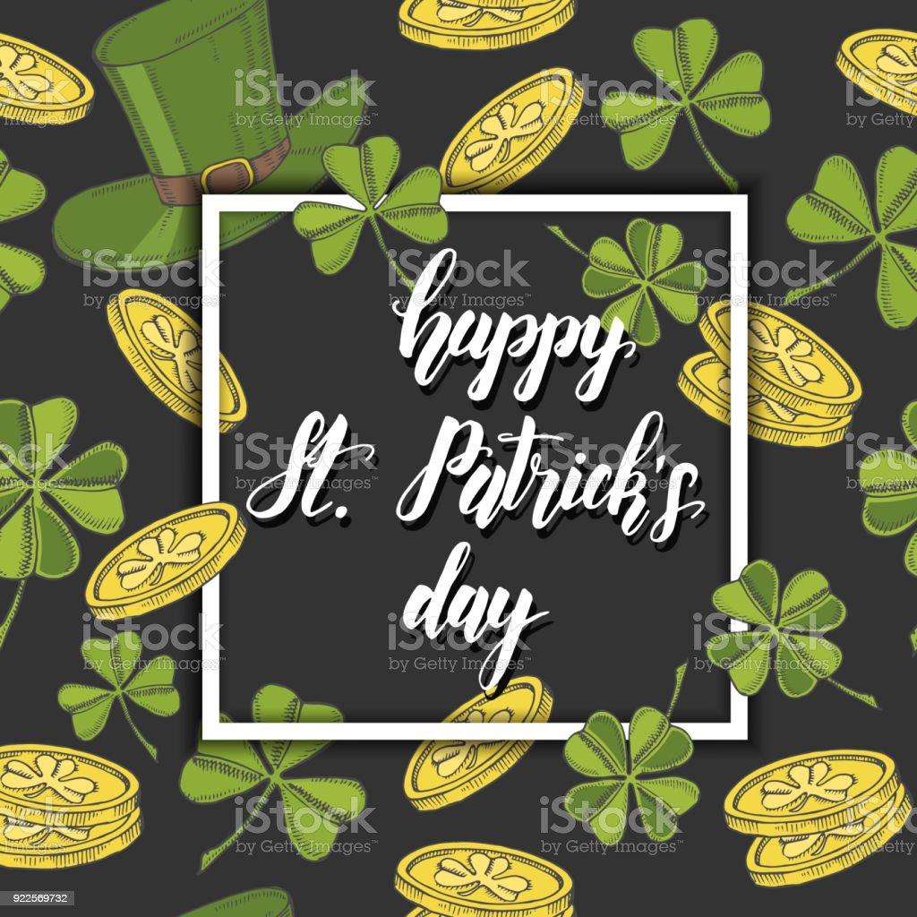 Ilustración de Día Feliz St Patrick Fondo Con Mano Dibujado Símbolos ...