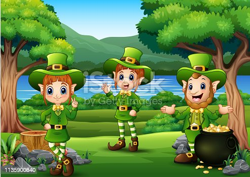Happy St Patricks Day calebration with Leprechaun and pot of gold