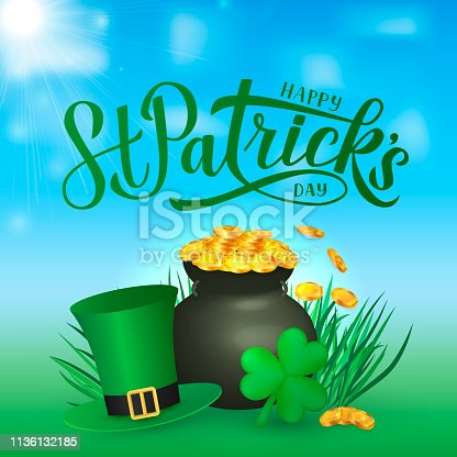 Happy St. Patrick's day calligraphy hand lettering, Leprechaun`s hat, clover and pot of golden coins. Saint Patricks day greeting card, party invitation, poster, flyer, banner. Vector illustration.