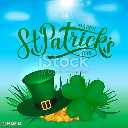 Happy St. Patrick's day calligraphy hand lettering, Leprechaun`s hat, clover and golden coins. Saint Patricks day greeting card, party invitation, banner, poster, flyer. Vector illustration.