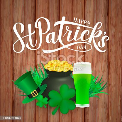 Happy St. Patrick's day calligraphy hand lettering, Leprechaun`s hat, clover, glass of green beer and pot of golden coins on wood background. Saint Patricks day greeting card. Vector illustration.