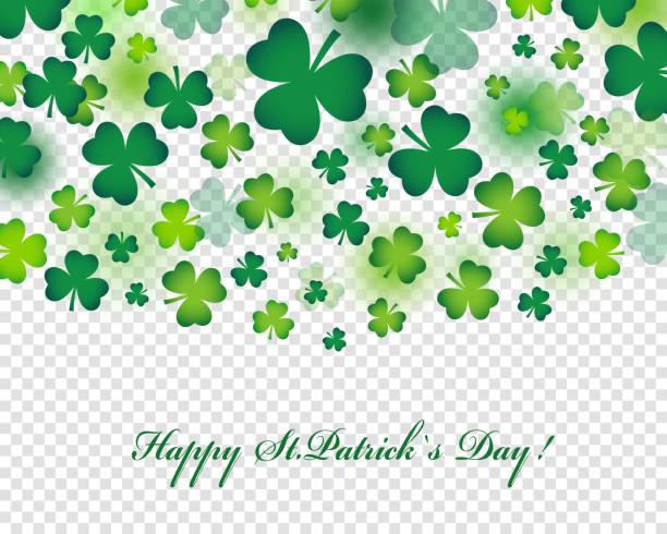 Glücklich St. Patricks Day Karte oder Hintergrund mit realistischen Kleeblatt oder Klee in angesagten Style. – Vektorgrafik