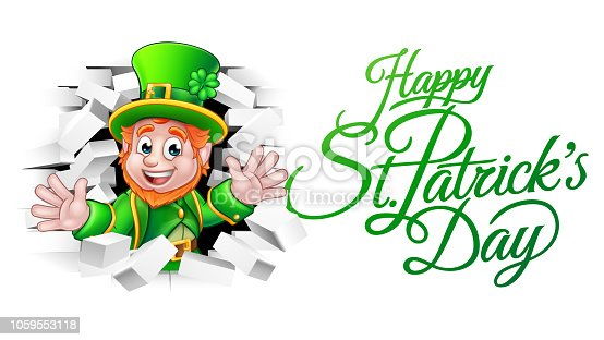 A cute Leprechaun cartoon character breaking through the background brick wall with Happy St Patricks Day message