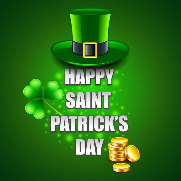 Happy St. Patricks Day Konzept auf grüne Vektor Hintergrund – Vektorgrafik