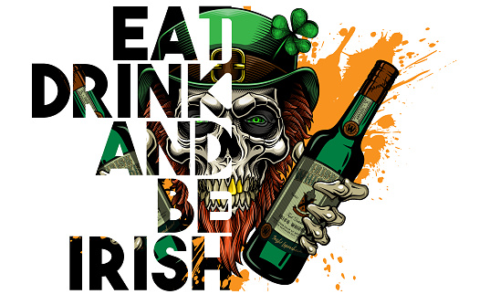 """""""Happy St. Patrick's Day. Eat, drink and be Irish"""". - greeting card design."""