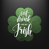 Happy St. Patricks Day greating. Lucky Calligraphy.
