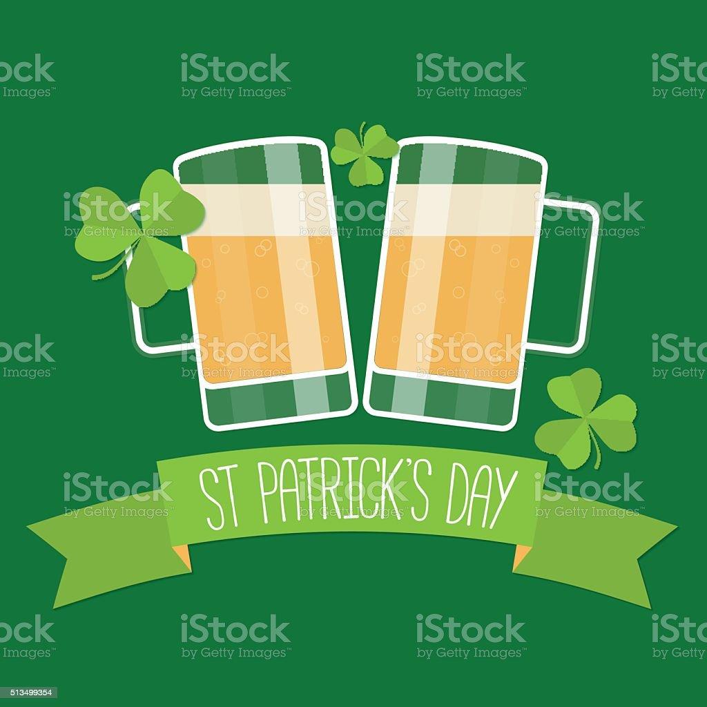 Happy St Patricks day green card. vector art illustration