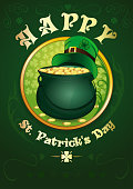 Happy St. Patricks Day. Greeting card. Green pot with gold coins and green leprechaun hat. Green background with the symbols of St. Patricks Day. Vector illustration
