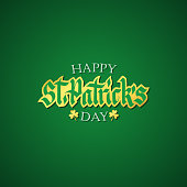 Happy St. Patrick's Day greeting card with handwritten lettering and golden elements on green background.