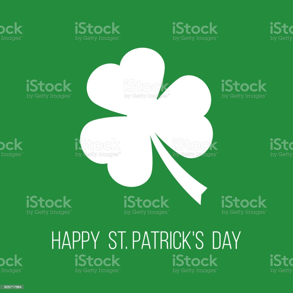 Happy St Patricks Day Greetings Card With Clover Leaf Stock Vector