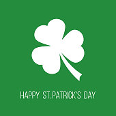 happy st. patrick's day, greetings card with clover leaf