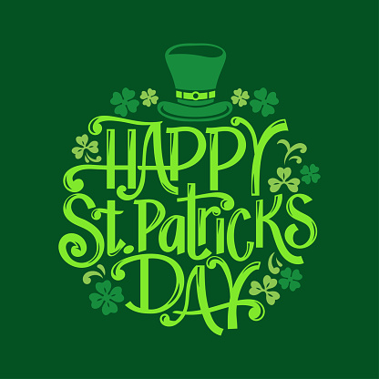 Happy St. Patrick's Day hand drawn lettering vector illustration