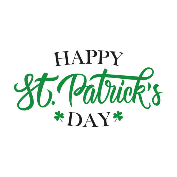 Happy St. Patrick's Day handwritten lettering. Template for greeting cards and invitations. Happy St. Patrick's Day handwritten lettering. Template for greeting cards and invitations. Vector illustration. temperate flower stock illustrations