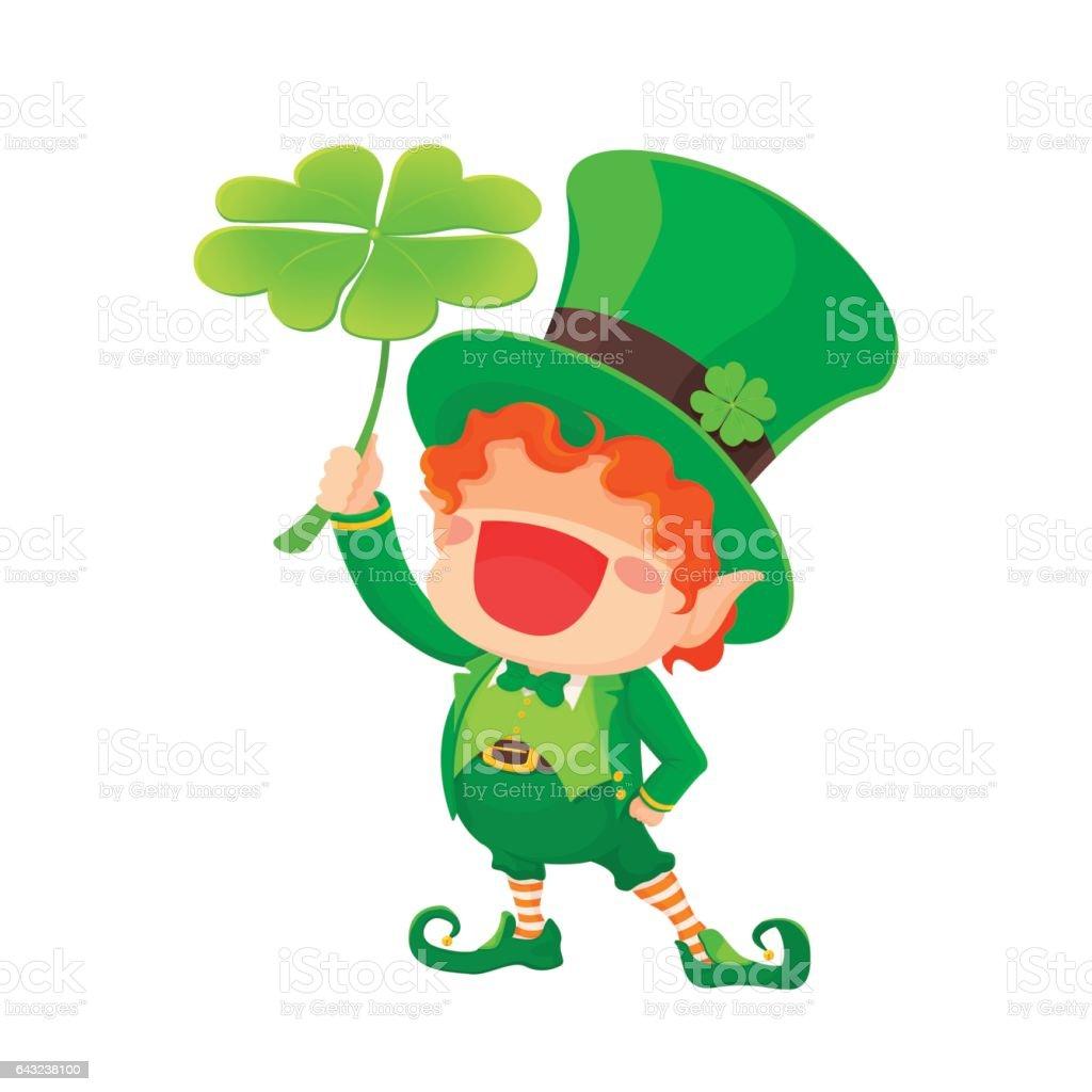 happy st patricks day leprechaun holding shamrock stock vector art