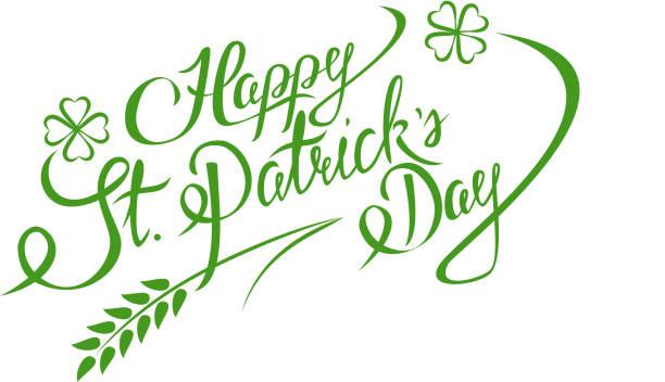 Happy St. Patricks Day Schriftzug Grußkarte – Vektorgrafik