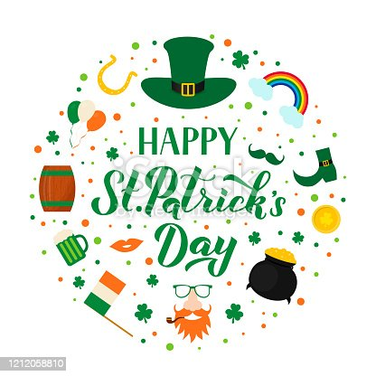 Happy St. Patrick's day lettering with traditional Irish symbols: green hat, leaf of shamrock, Leprechaun, pot of treasure, gold coins, horseshoe, mug of beer. Vector illustration.