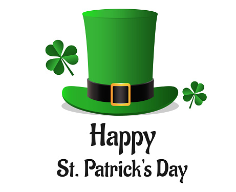 Happy St. Patrick's Day poster with leprechaun hat and clover leaf elements on white background.