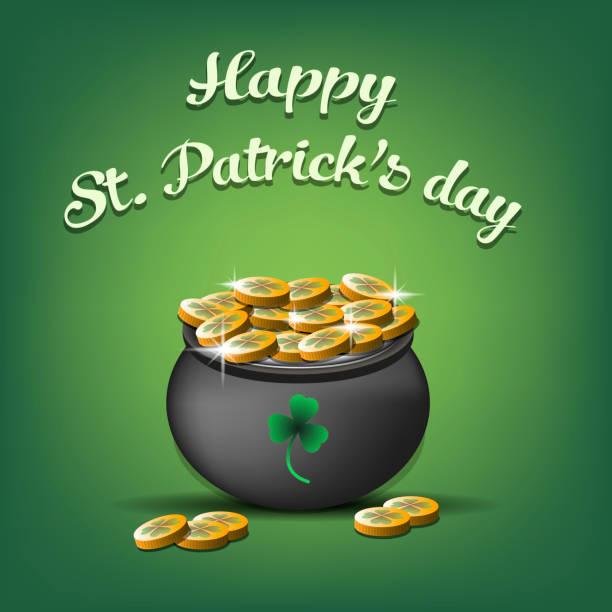 Happy St. Patricks Tag. Topf mit Goldmünzen – Vektorgrafik