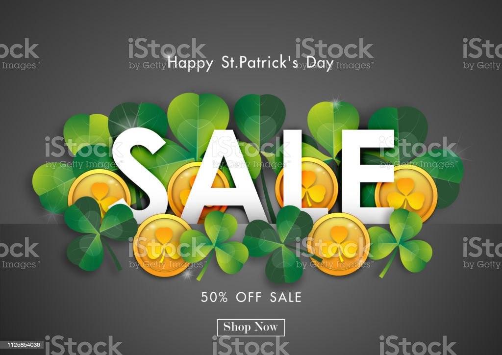 Happy St Patricks Day Sale Off Background With Green