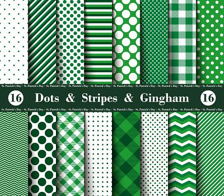 Happy St. Patrick's Day! Set of Sixteen Seamless Patterns
