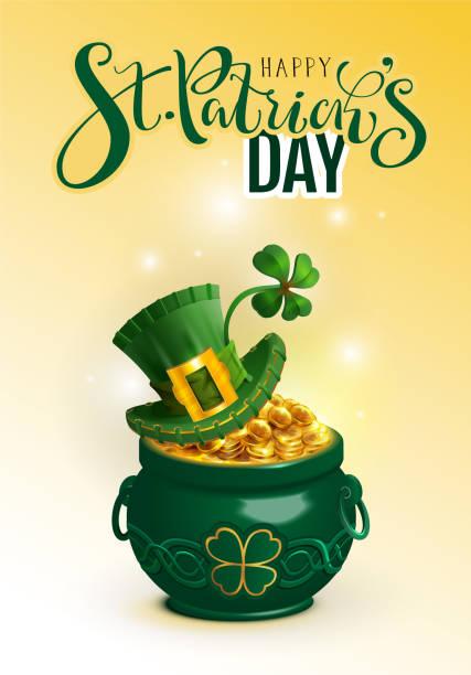 Happy St. Patricks Tag Text Grußkarte. Grünen Hut, volle Kanne gold Münze und Glück Kleeblatt – Vektorgrafik