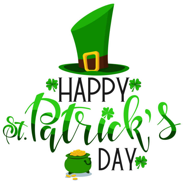 happy st. patrick's day text with four leaf clover, leprechaun green hat and pot with gold coins. irish holiday greeting card with hand drawn font. vector cartoon illustration. - four seasons stock illustrations