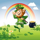 - joyful leprechaun on clover green field