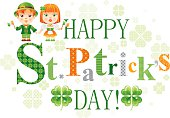 Happy St. Patrick's day with shamrock background and children in national Irish costumes