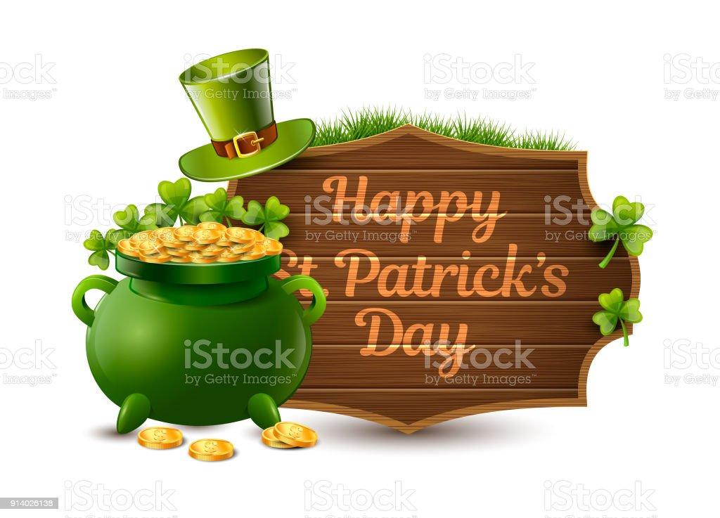Happy St Patricks Day Wood Sign Vector Illustration Stock Vector Art